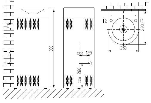 Примечание - AFO 01.SC напольный нержавеющий питьевой фонтанчик с охлаждением, прикрепляемый к стене.